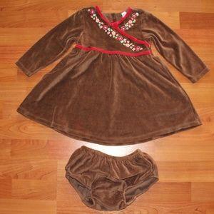Baby Gap Long sleeve Brown Velvet Dress w/panties